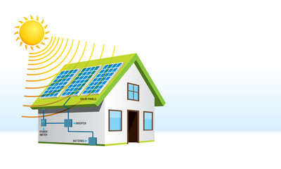 Small house with solar energy installation with names of system components in white background. Renewable Energy - Vector image