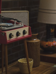 Vintage record player and vases