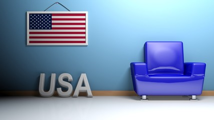 Room of USA - 3D rendering