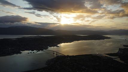 Midnight sun above Tromso