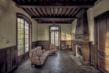 abandoned room in mansion