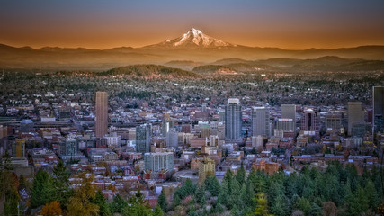 Mount Hood and Portland Sunset