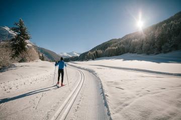 Athlete practice cross-country skiing