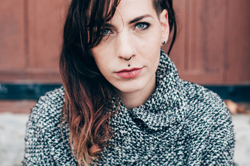 Portrait of a nice blue eyes woman