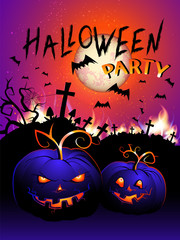 Vector Halloween illustration with flame, pumpkins head, cemetery and text.