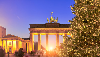 Panoramic image of Christmas tree at Brandenburger Gate in Berlin