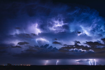 Lightning Storm Over Land