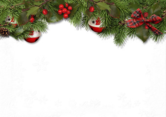 Christmas card with fir balls and holly on white background