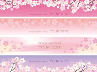 シームレスな桜のバナー 4種類セット