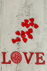 Word Love With Cute Red Hearts