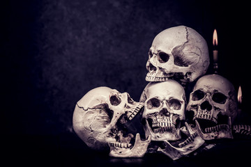 Skull and scary scene for Halloween trick or treat