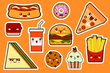 Fastfood fashion, cartoon kawaii stickers illustrations icon set. gamburger, pizza, sandwich, cake Flat design