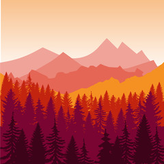 Panorama of mountains and forest silhouette landscape early on the sunset. Flat design  Illustration