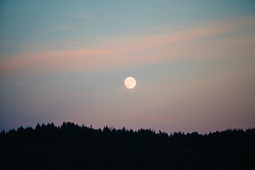 Full moon rising over a mountain of trees