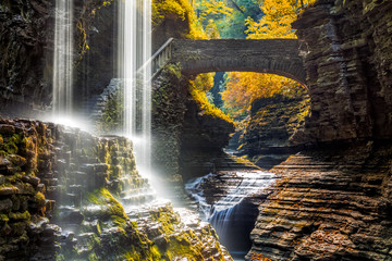 Tuinposter Watervallen Watkins Glen State Park waterfall canyon in Upstate New York