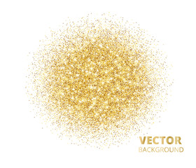 Sparkling background, golden glitter explosion. Vector dust on white.