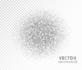 Sparkling circle, silver glitter explosion. Vector dust, diamonds, snow on transparent background.