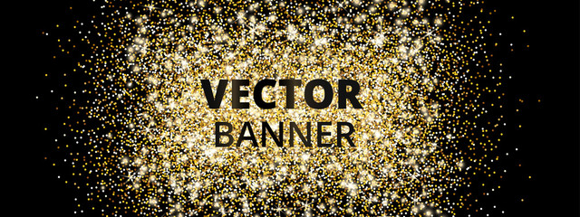 Wall Mural - Banner with golden glitter explosion. Sparkles on black background, vector dust.