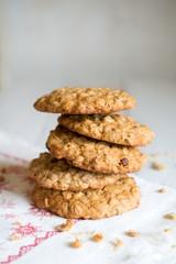 Food: healthy homemade oatmeal raisin cookies