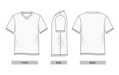 V Neck T-shirt vector.