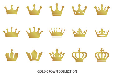 Gold crown icon collection