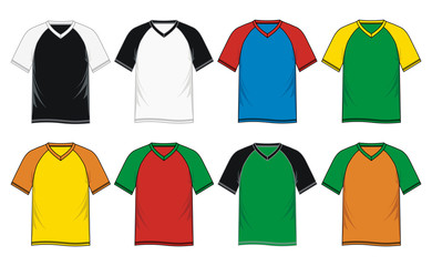 T Shirt Template Raglan V-neck