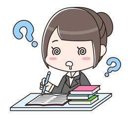 採用試験を受ける女性 ペーパーテスト SPI はてな わからない