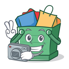 Photography shopping basket character cartoon