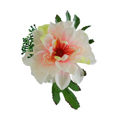 Beautiful pink and white fabric peony flower isolated on white with working path
