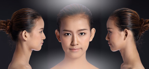 Asian Woman before after applying make up hair style. no retouch