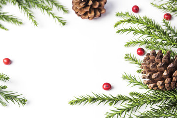 Christmas decoration of pine cone and leaves on white background with copy space