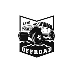 Off Road Car 4x4 Vehicle Event, Show, Festival, Club Extreme Extreme Forest Expedition Adventure Retro Vintage Classic Style Logo Template, Badge, Emblem, Sticker, Sign, Poster, Stamp, Label, Icon