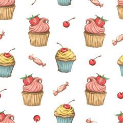Cupcake vector pattern. Happy birthday cupcake background. Cupcake pattern background.