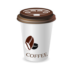 Realistic paper coffee cup. Vector EPS10 illustration.
