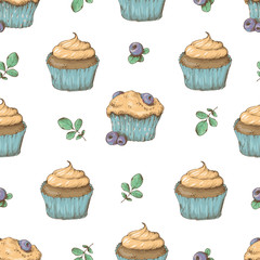 Cupcake vector pattern. Happy birthday cupcake background. Cupcake pattern background.