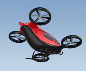 Rear view of metallic red self-driving passenger drone flying in the sky. 3D rendering image.