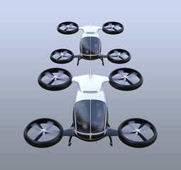 Front view of two self-driving passenger drones flying in the sky. 3D rendering image.