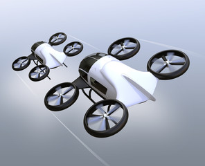 Rear view of two self-driving passenger drones flying in the sky. 3D rendering image.