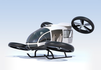 White self-driving passenger drone landing on the ground, left cabin door opened. 3D rendering image.