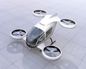 White self-driving passenger drone landing on the ground. 3D rendering image.