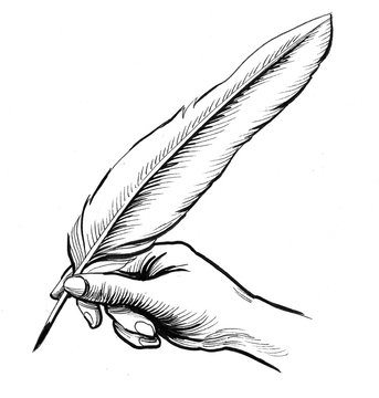 Hand writing with a quill