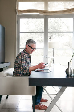 Mature man with grey hair working in home office