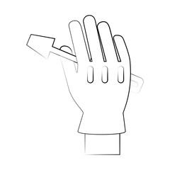 screwdriver tool held by hand with glove icon image vector illustration design  black sketch line