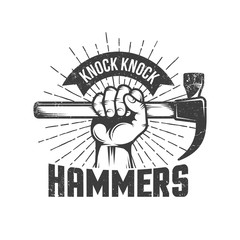Hand with hammer and knock knock words on white.  Worn out texture on separate layer. Retro vector illustration.