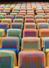 Seats Inside the headquater theater of EL SISTEMA in Caracas, designed by the Artist Cruz Diez
