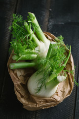 Fennel on a wooden table