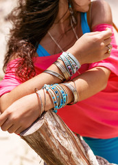 boho style fashion model with stylish accessories