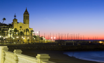 Sunset view of Sitges