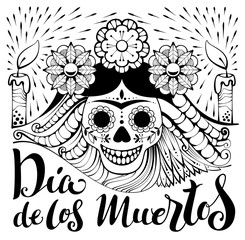 Mexican zentangle Dia de los Muertos text. Day of the Dead