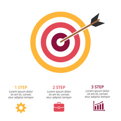 Vector circle arrows infographic, cycle diagram, graph, presentation chart. Target marketing research. Business concept with 3 options, parts, steps, processes.